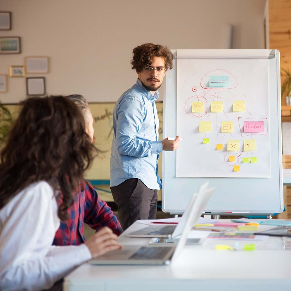 Startup leader drawing flowchart on board and discussing project with team. Business colleagues in casual working together in contemporary office space. Teamwork concept